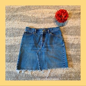 Ralph Lauren Frayed Hem Jean Skirt